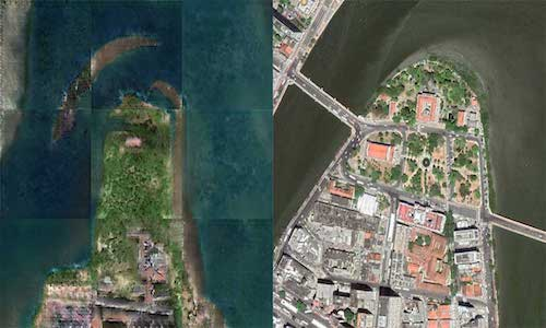 An AI-generated image of the region around Recife in 1808 (left), and an actual satellite image of the area captured this year.